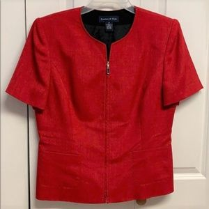 Preston & York Blazer Size 14 Red Zipper Front